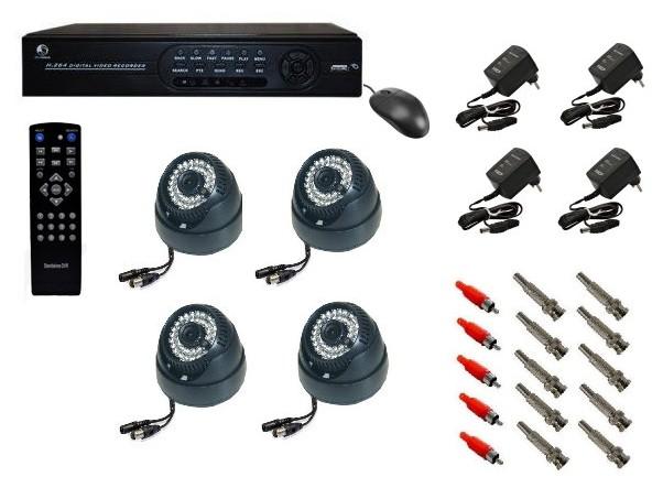 Kit DVR H264 120fps dome câmera 600 linhas fontes conectores